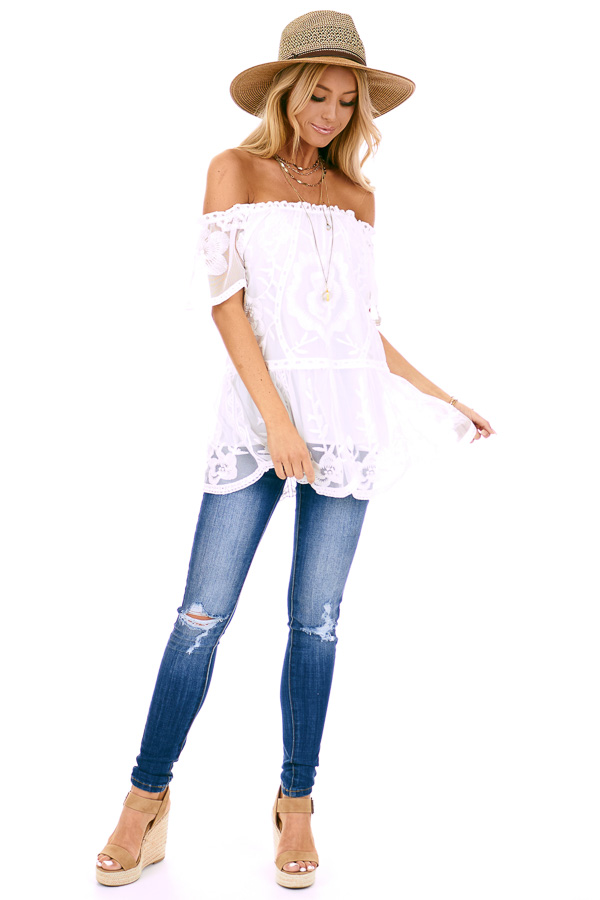 Coconut White Off the Shoulder Lace Top with Sheer Sleeves front full body