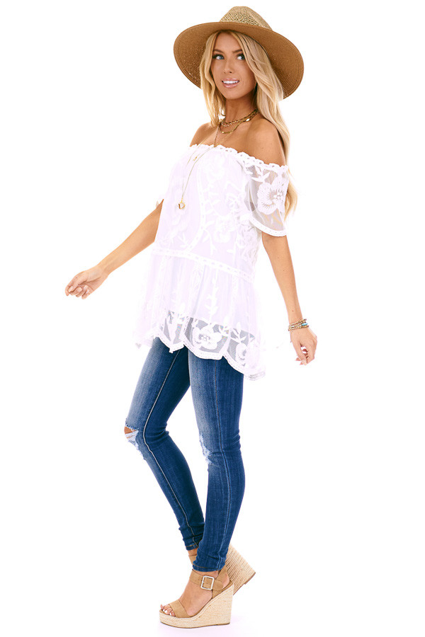 Coconut White Off the Shoulder Lace Top with Sheer Sleeves side full body