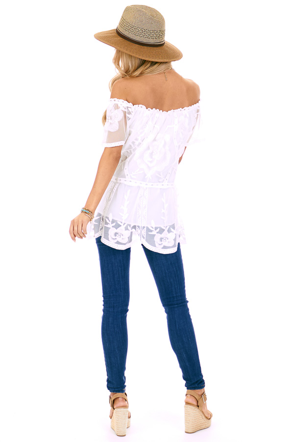 Coconut White Off the Shoulder Lace Top with Sheer Sleeves back full body