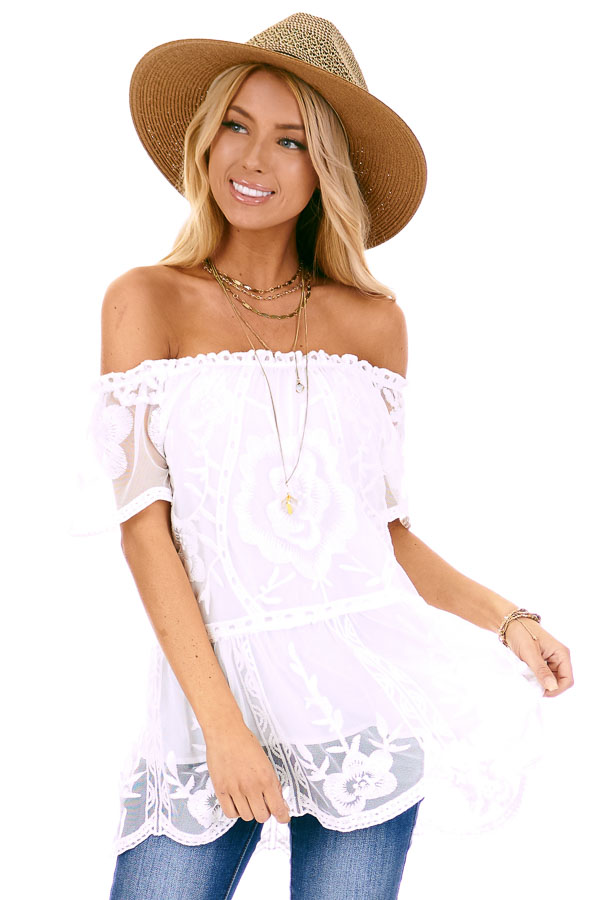Coconut White Off the Shoulder Lace Top with Sheer Sleeves front close up