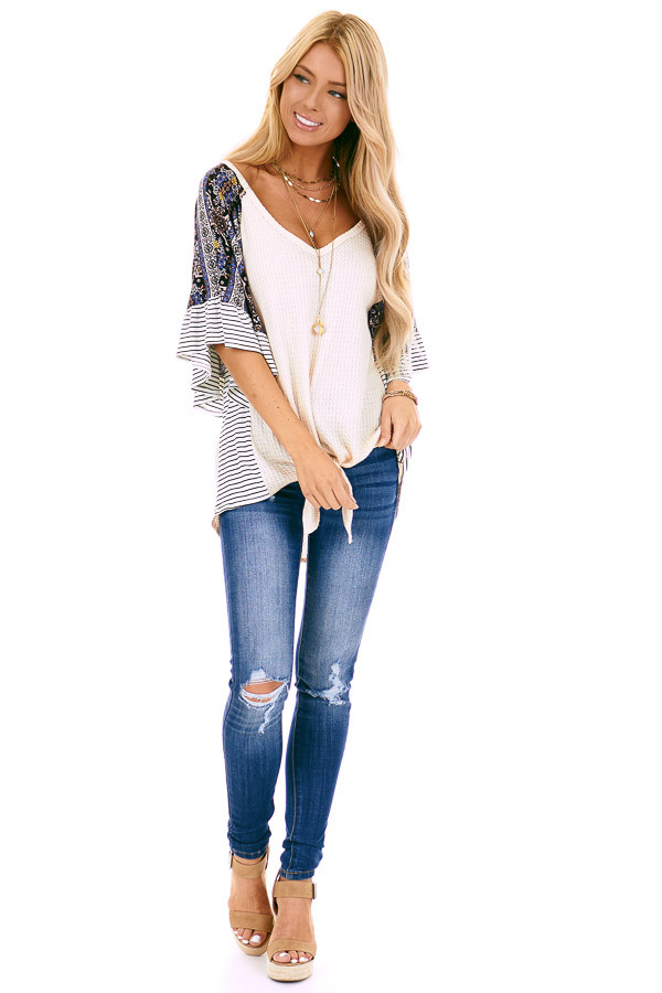 Cream Waffle Knit Top with Multi Print Contrast Sleeves front full body