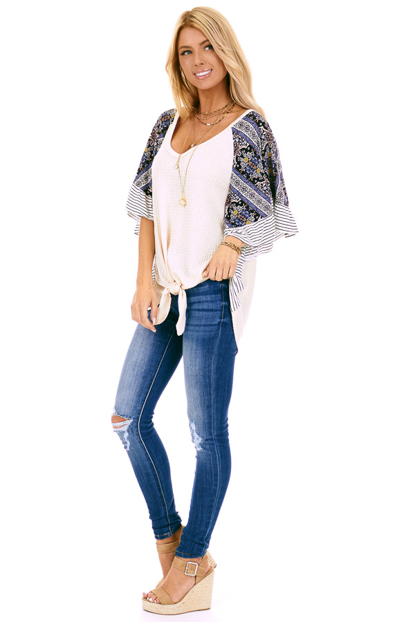 Cream Waffle Knit Top with Multi Print Contrast Sleeves side full body