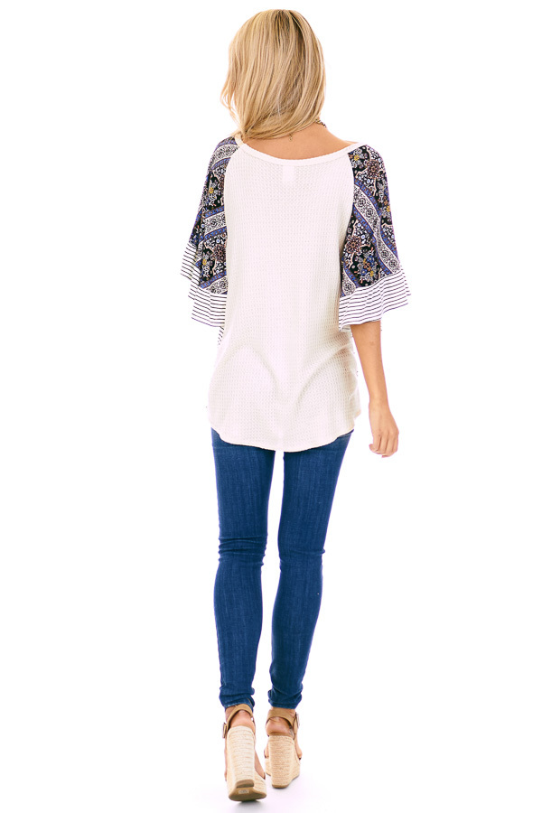 Cream Waffle Knit Top with Multi Print Contrast Sleeves back full body