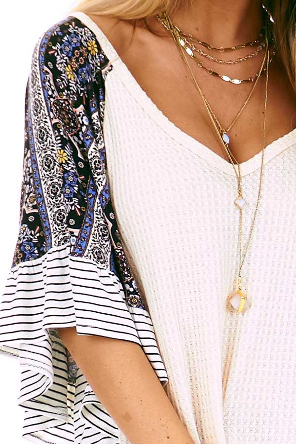 Cream Waffle Knit Top with Multi Print Contrast Sleeves detail