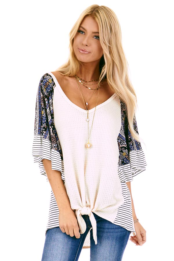 Cream Waffle Knit Top with Multi Print Contrast Sleeves front close up