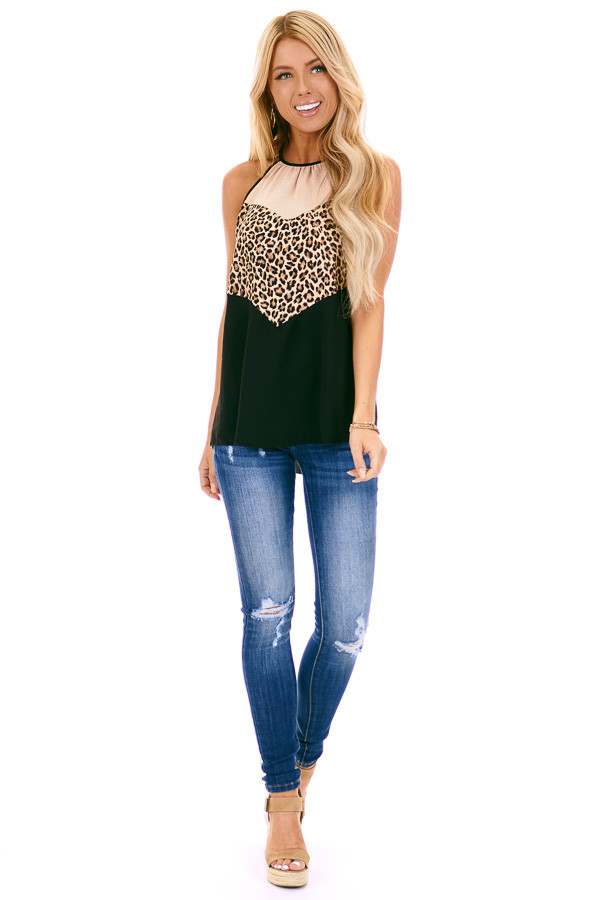 Taupe Leopard Print and Obsidian Color Block Halter Tank front full body