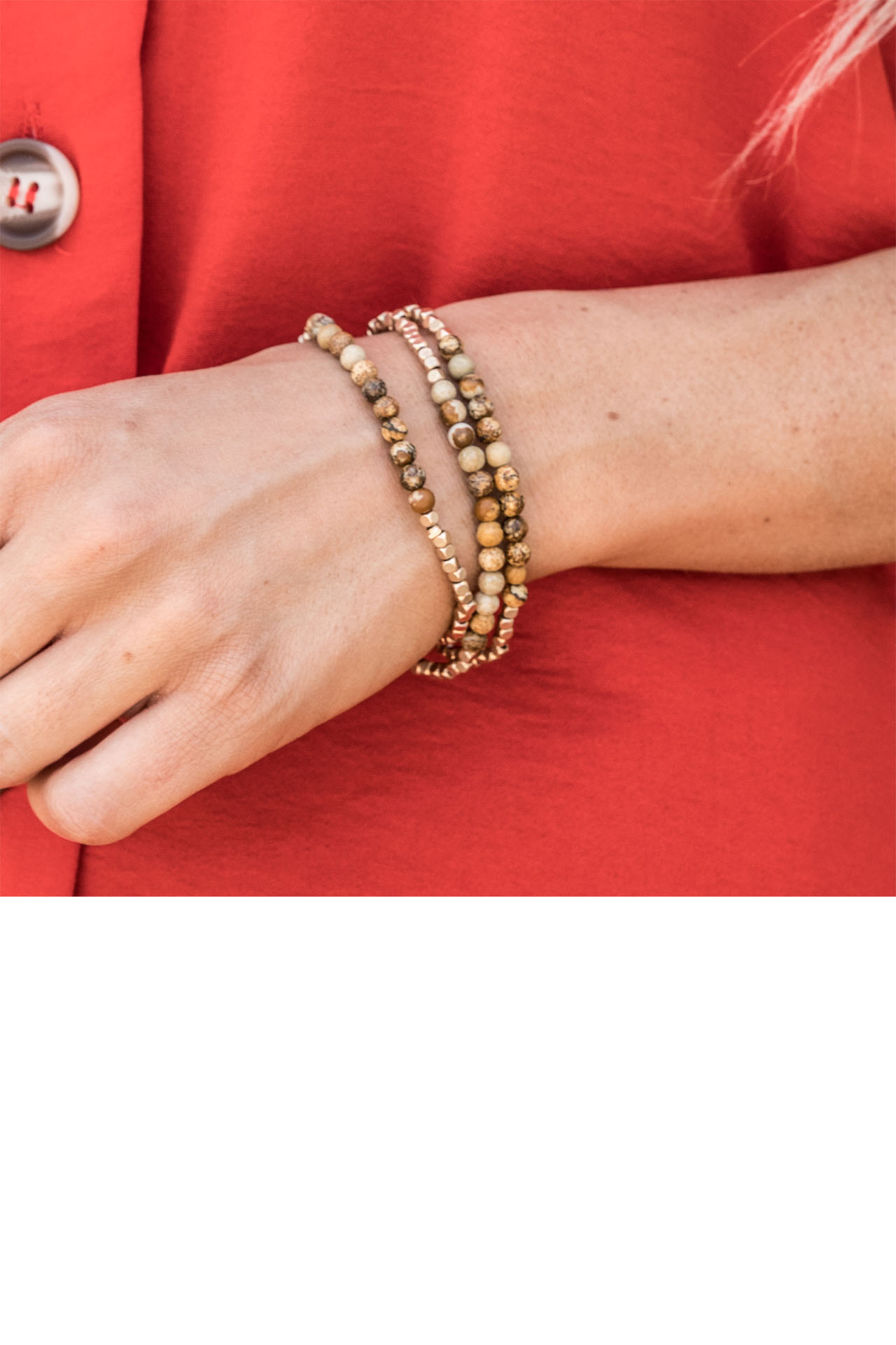 Natural Earth Tone and Gold Beaded Bracelet Set detail