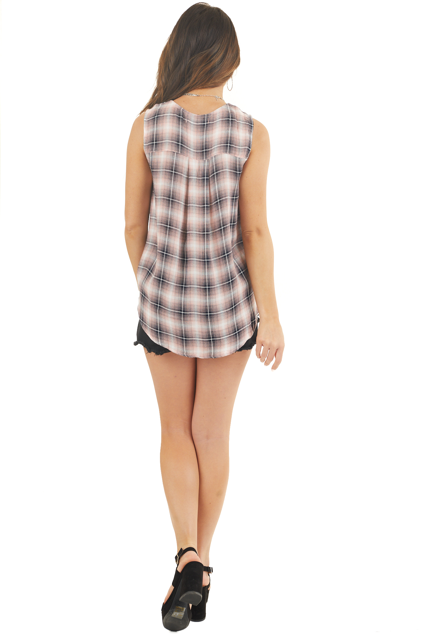 Blush Pink and Midnight Plaid Surplice V Neck Tank Top