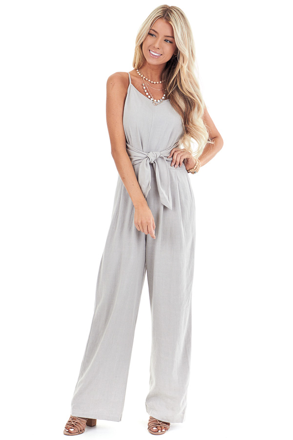 Sage Grey High Neck Spaghetti Strap Jumpsuit with Front Tie front full body
