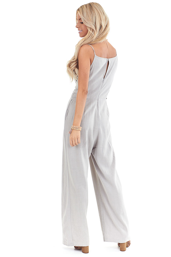 Sage Grey High Neck Spaghetti Strap Jumpsuit with Front Tie back full body