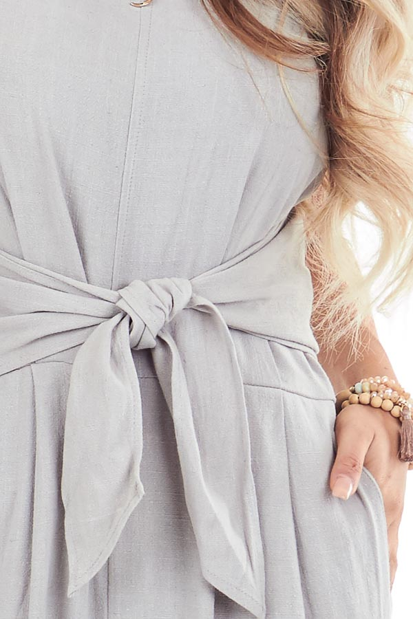 Sage Grey High Neck Spaghetti Strap Jumpsuit with Front Tie detail