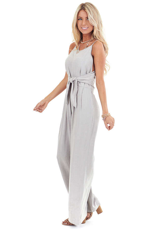 Sage Grey High Neck Spaghetti Strap Jumpsuit with Front Tie side full body