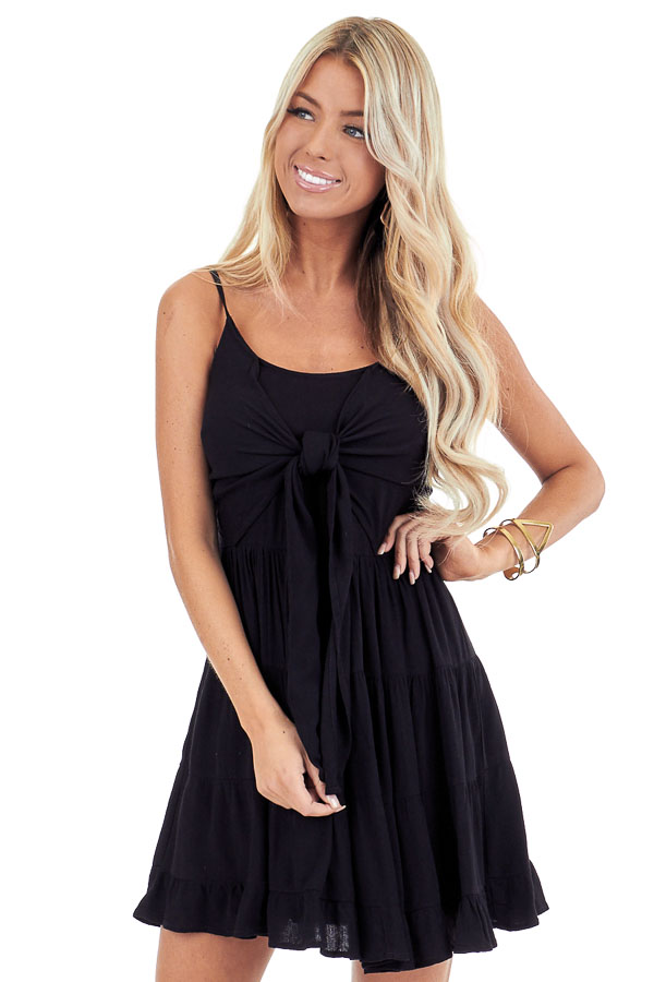 Midnight Black Spaghetti Strap Mini Dress with Front Tie front close up