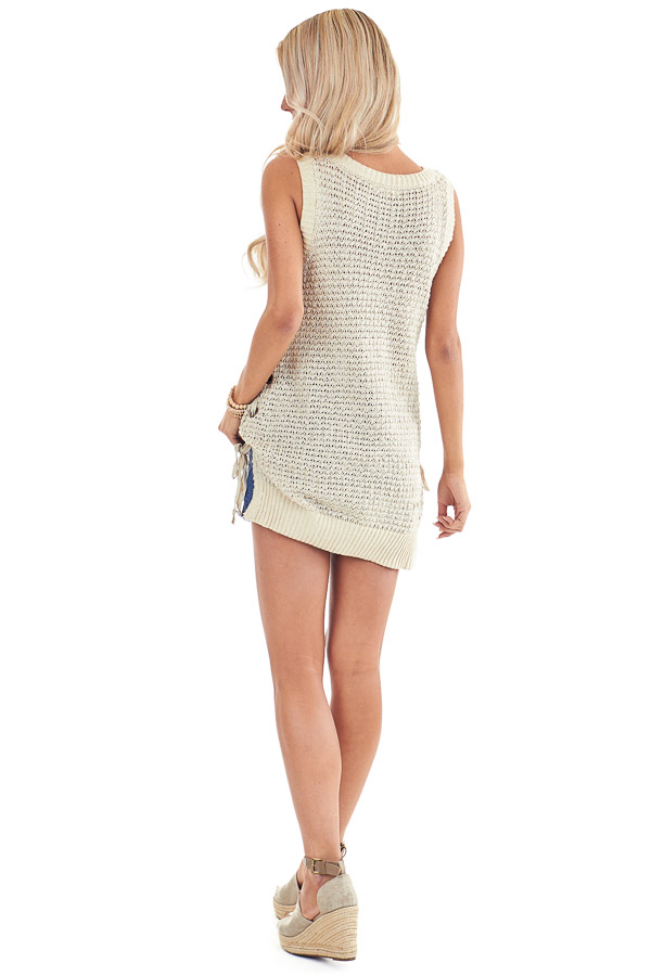 Oatmeal Knit Tank Top with Side Lace Up Detail back full body
