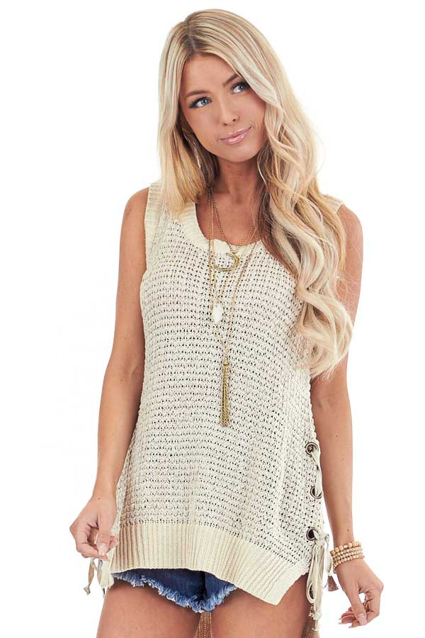 Oatmeal Knit Tank Top with Side Lace Up Detail front close up