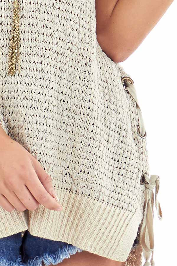 Oatmeal Knit Tank Top with Side Lace Up Detail detail