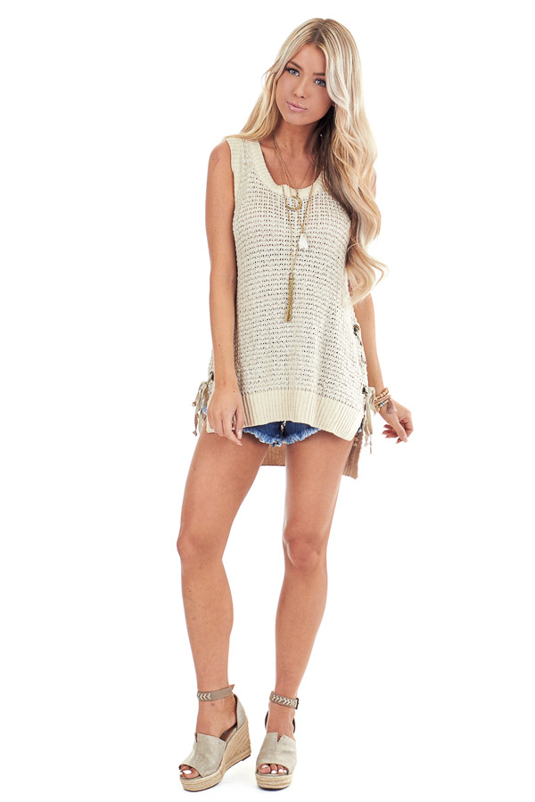 Oatmeal Knit Tank Top with Side Lace Up Detail front full body