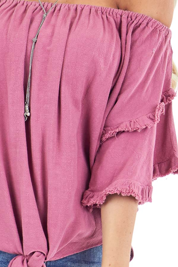 Raspberry Off the Shoulder Linen Peasant Top with Front Tie detail