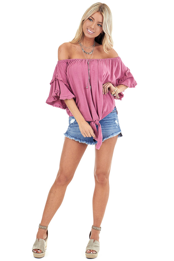 Raspberry Off the Shoulder Linen Peasant Top with Front Tie front full body