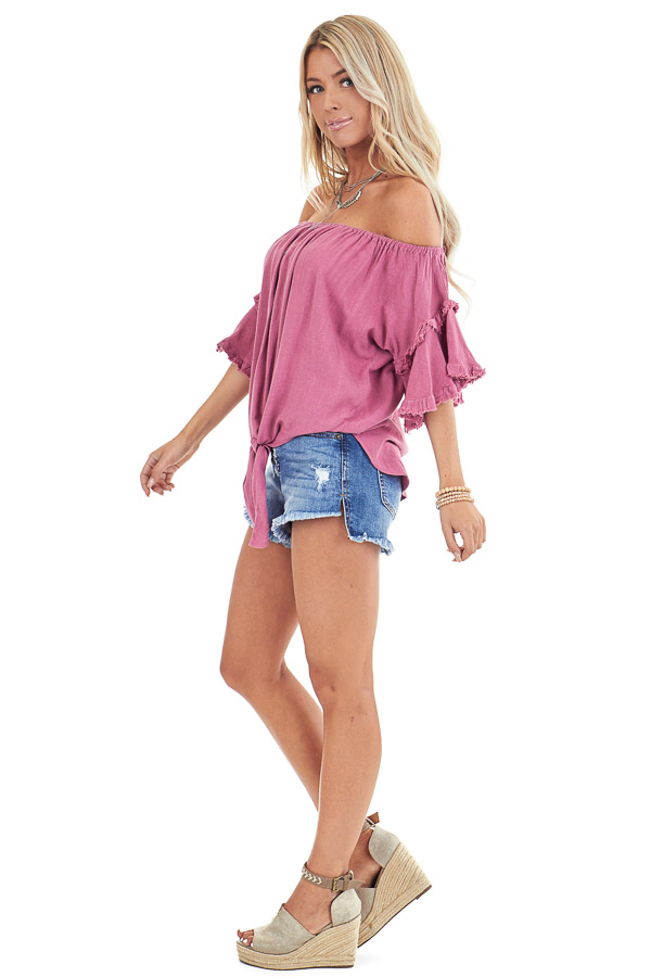 Raspberry Off the Shoulder Linen Peasant Top with Front Tie side full body