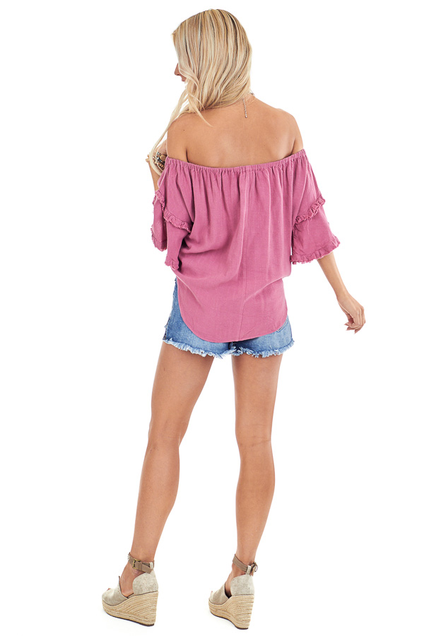 Raspberry Off the Shoulder Linen Peasant Top with Front Tie back full body