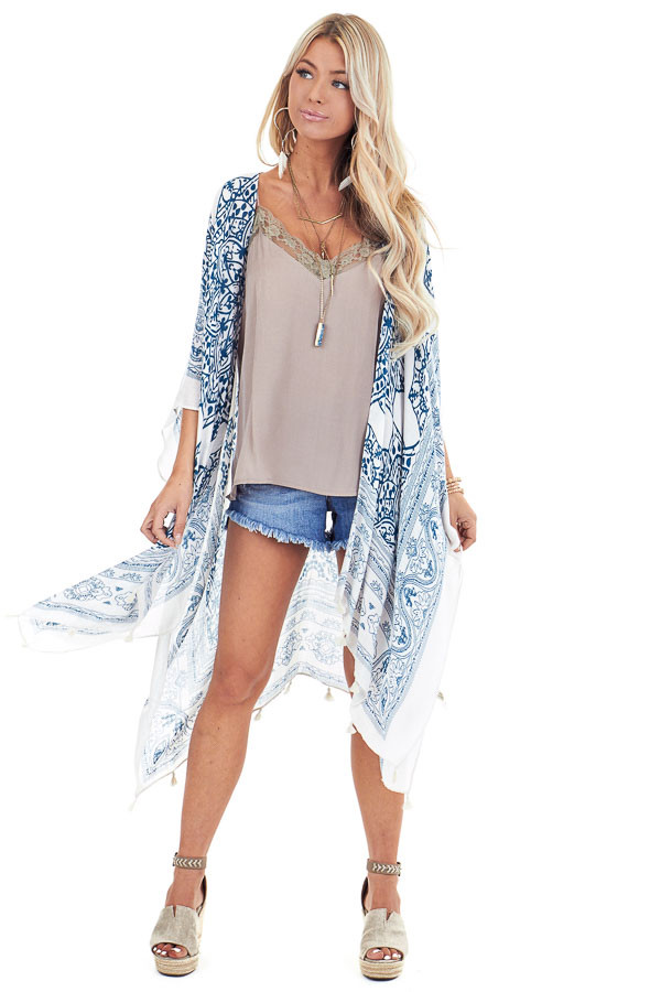 Teal and Ivory Mandala Print Open Front Kimono front full body