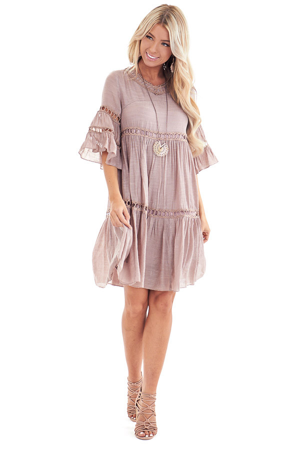 Rose Smoke 3/4 Bell Sleeve Dress with Lace Details front full body