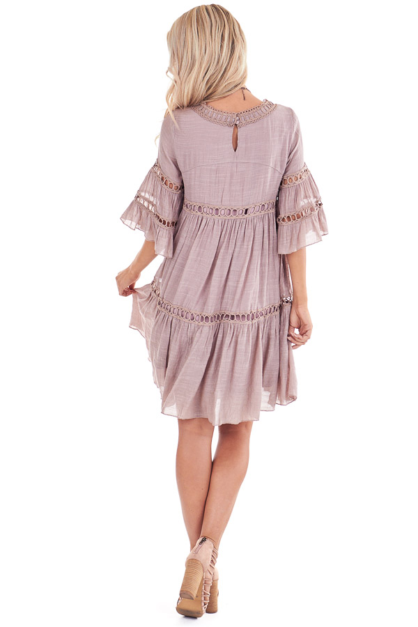Rose Smoke 3/4 Bell Sleeve Dress with Lace Details back full body