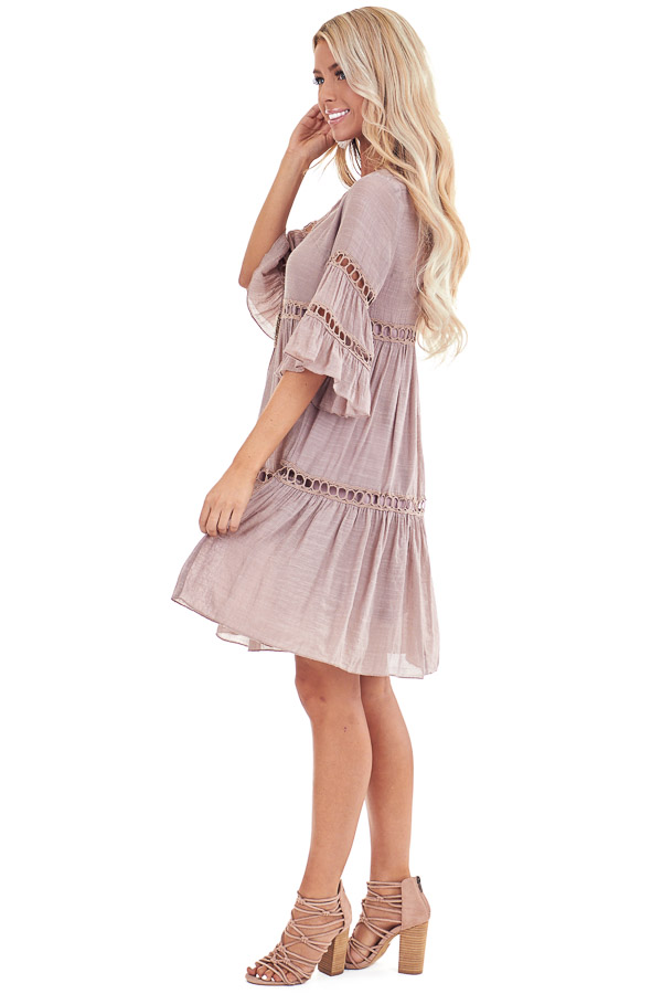 Rose Smoke 3/4 Bell Sleeve Dress with Lace Details side full body