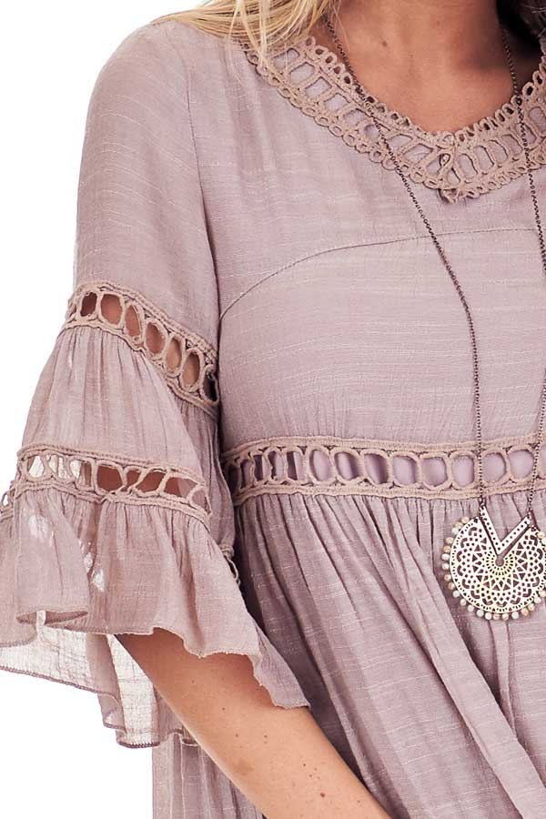 Rose Smoke 3/4 Bell Sleeve Dress with Lace Details detail