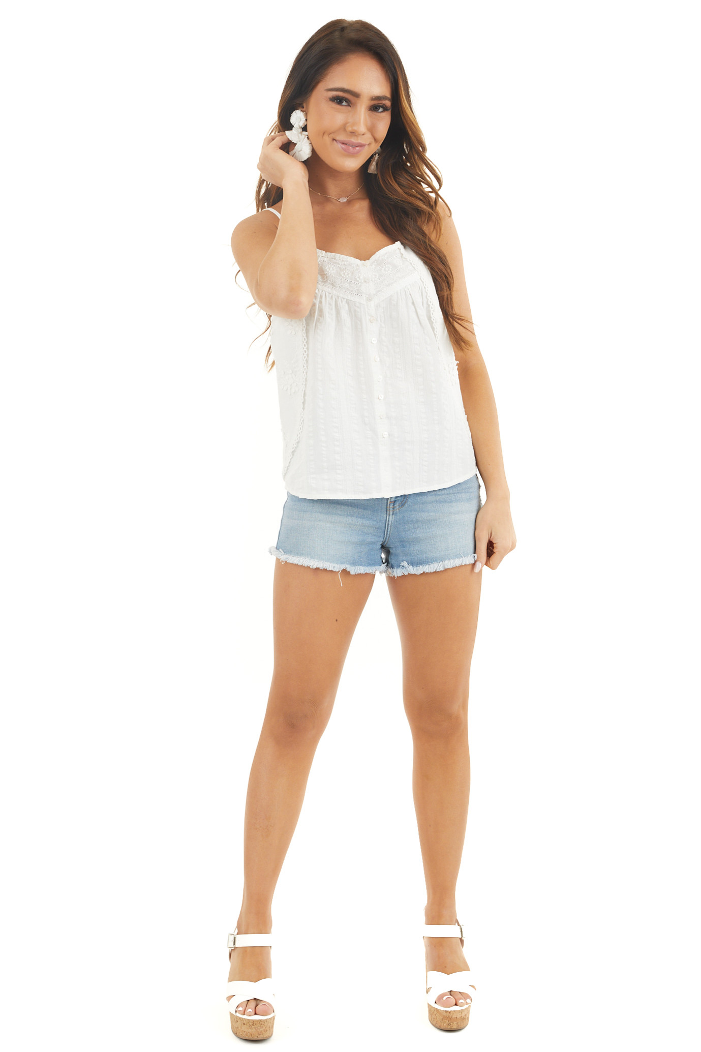 Coconut White Button Up Tank Top with Floral Embroidery