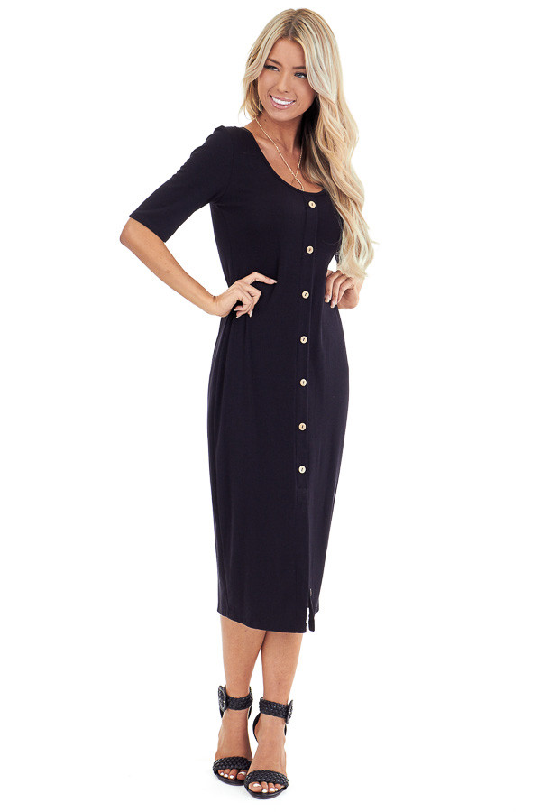 Ink Black Ribbed Knit Midi Dress with Button Up Detail front full body