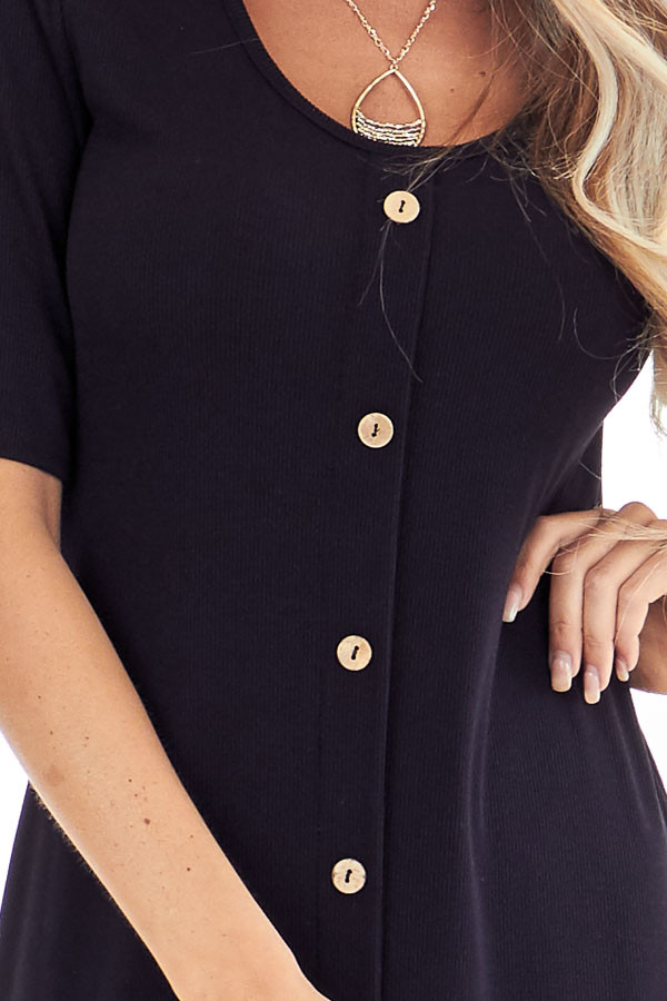 Ink Black Ribbed Knit Midi Dress with Button Up Detail detail