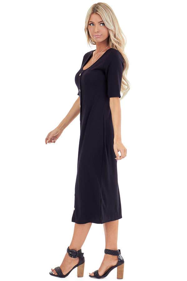 Ink Black Ribbed Knit Midi Dress with Button Up Detail side full body