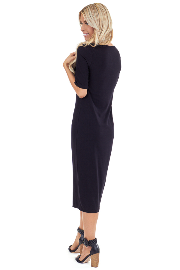 Ink Black Ribbed Knit Midi Dress with Button Up Detail back full body