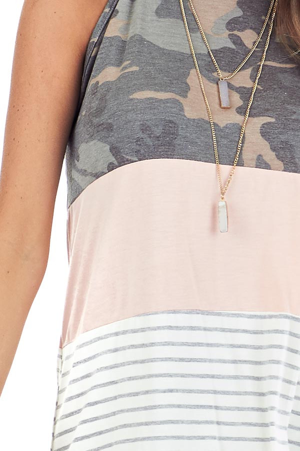 Camo Blush and Heather Grey Striped Color Block Tank Top detail