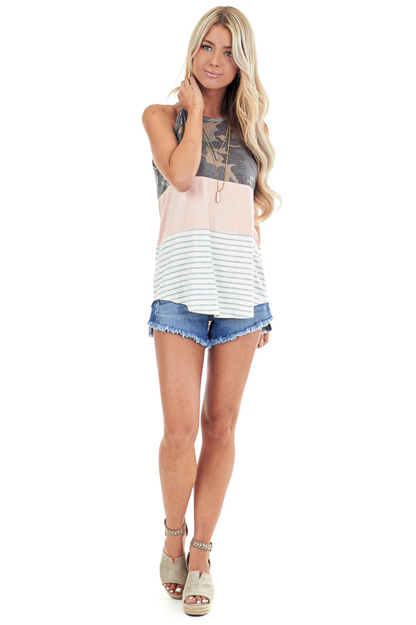 Camo Blush and Heather Grey Striped Color Block Tank Top front full body