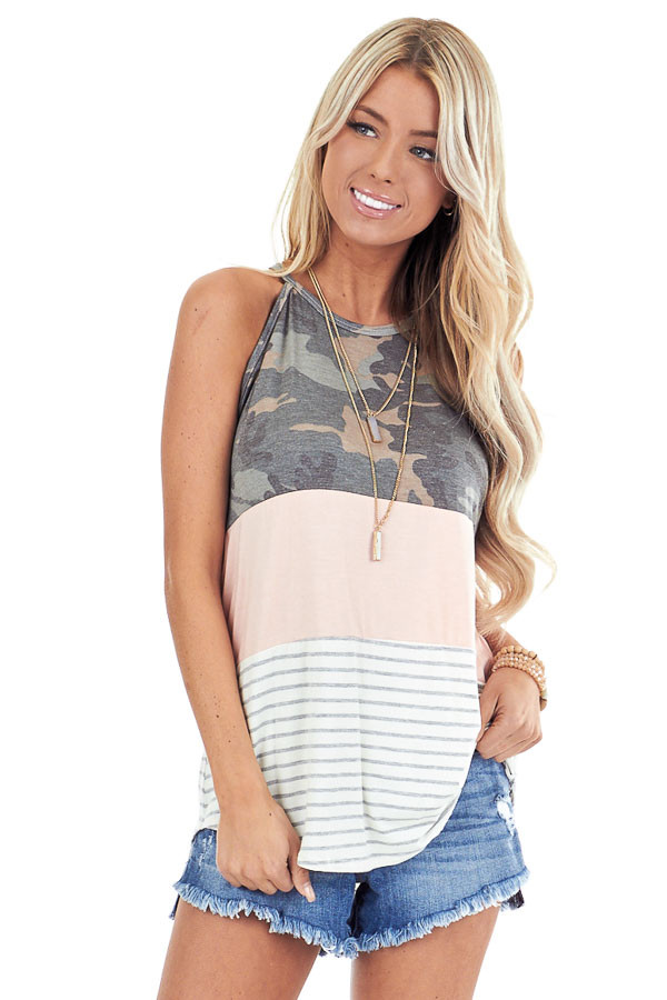 Camo Blush and Heather Grey Striped Color Block Tank Top front close up