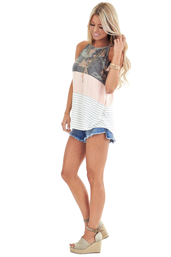 Camo Blush and Heather Grey Striped Color Block Tank Top side full body