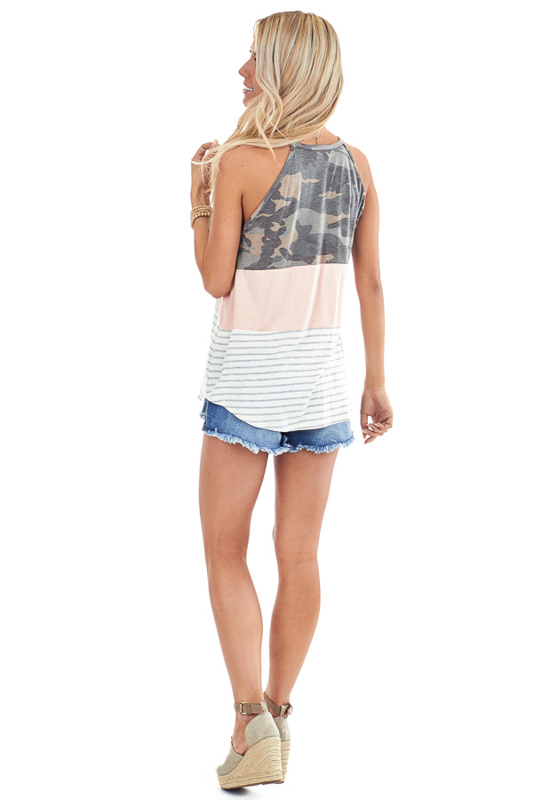 Camo Blush and Heather Grey Striped Color Block Tank Top back full body