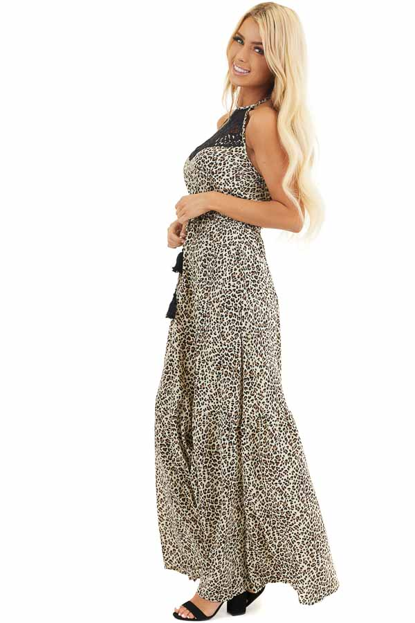 Leopard Print Halter Maxi Dress with Ebony Lace Detail side full body
