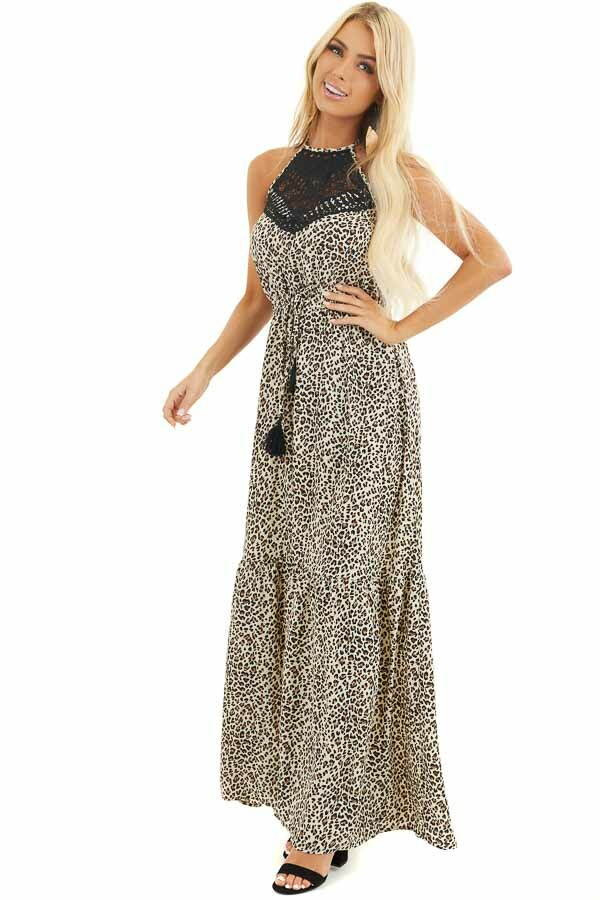 Leopard Print Halter Maxi Dress with Ebony Lace Detail front full body