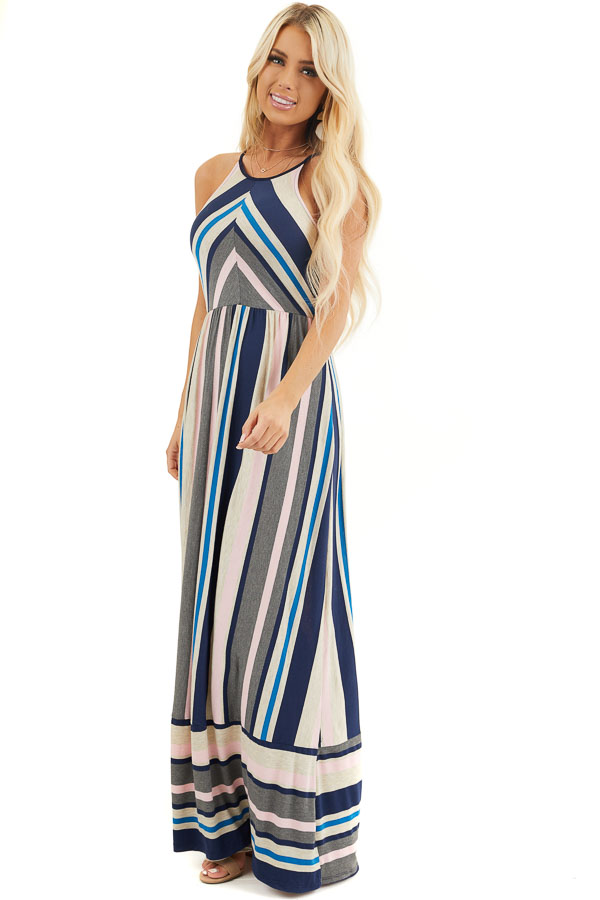 Blush and Navy Striped Spaghetti Strap Maxi Dress front full body
