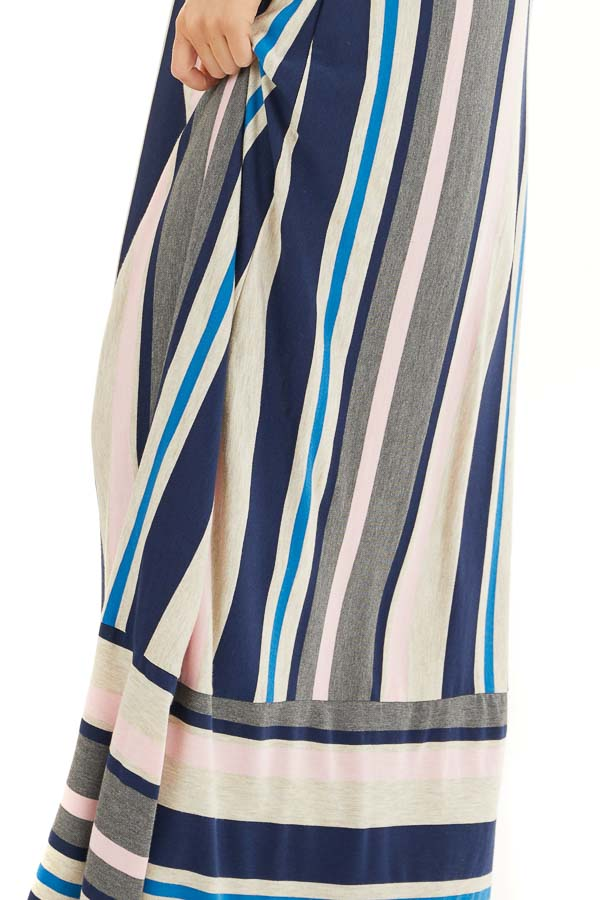 Blush and Navy Striped Spaghetti Strap Maxi Dress detail