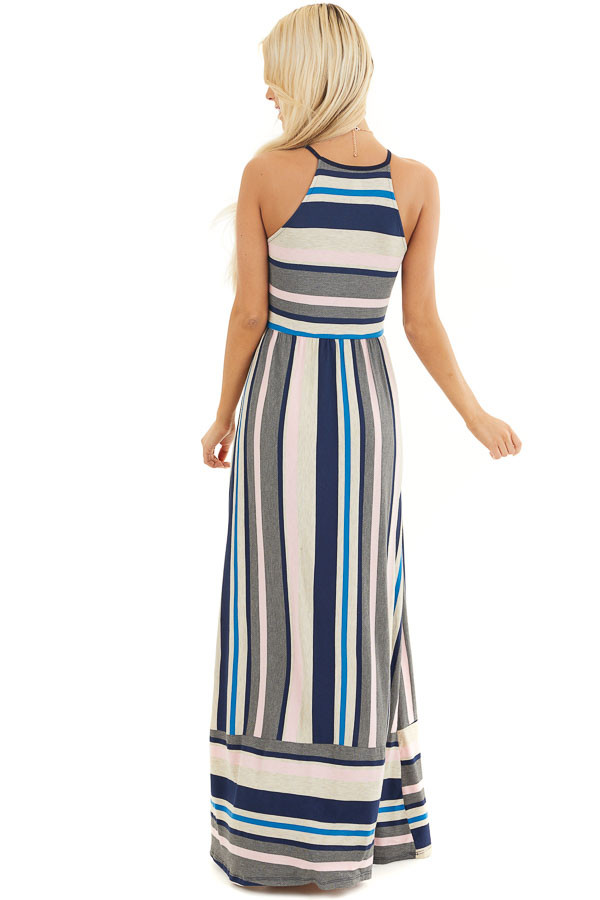 Blush and Navy Striped Spaghetti Strap Maxi Dress back full body