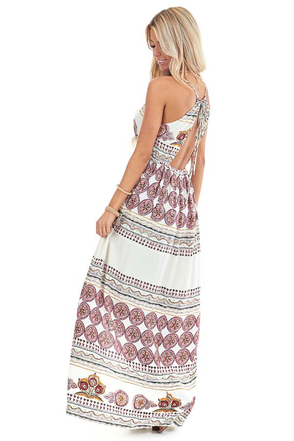 Ivory and Ruby Red Multi Print Romper with Maxi Overlay side full body