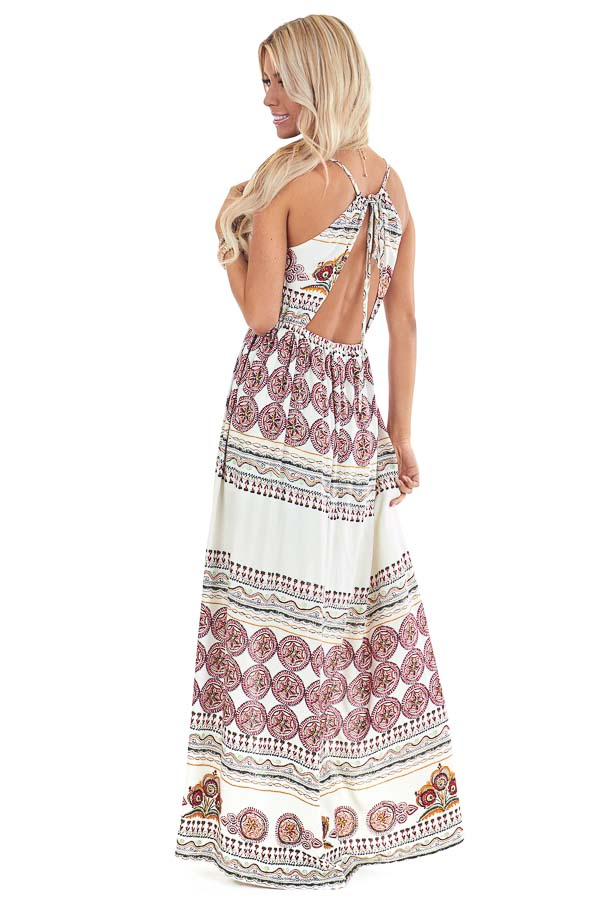Ivory and Ruby Red Multi Print Romper with Maxi Overlay back full body