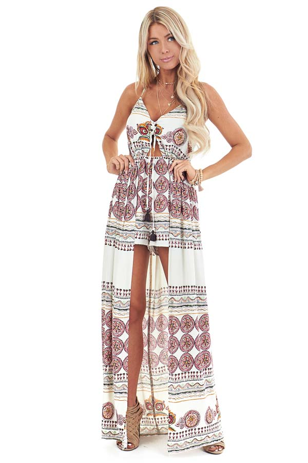 Ivory and Ruby Red Multi Print Romper with Maxi Overlay front full body