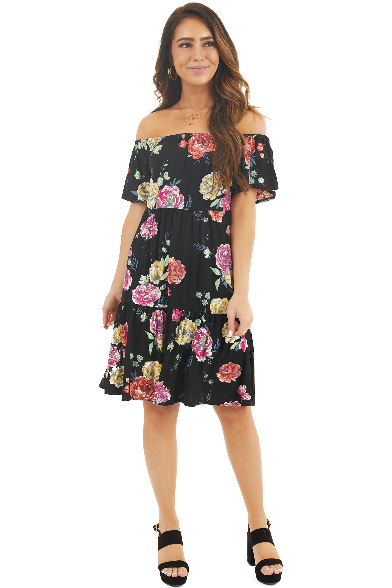 Obsidian Floral Off the Shoulder Short Sleeve Dress