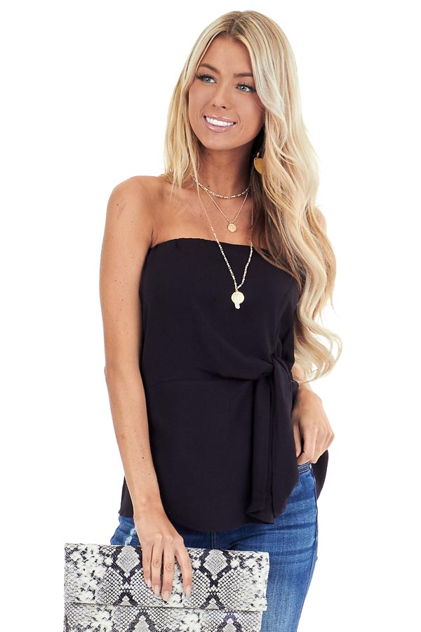 Ink Black Strapless Tube Top with Front Twist Detail front close up